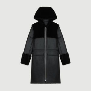 Maje Gwette Leather/Fur Coat (New with Tags)